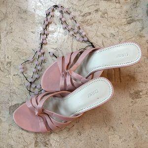 Slide Sandal Open Toe Pink Faux Leather Fioni